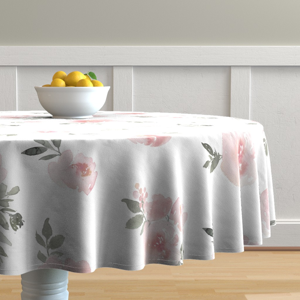 Malay Round Tablecloth featuring Dreamy Floral // Pink by willowlanetextiles