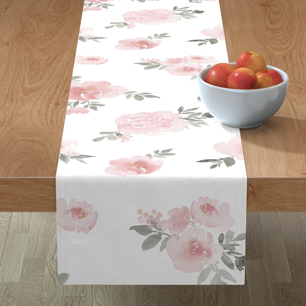 Minorca Table Runner featuring Dreamy Floral // Pink by willowlanetextiles