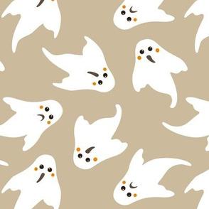 ghosts on brown / grey