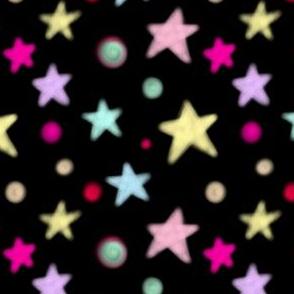 Simple Colorful Stars on Black