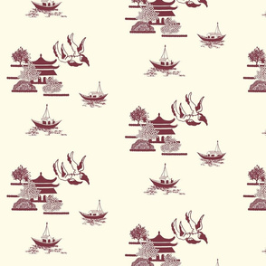 Willow-esque  Swallows and Boats Tile-Red