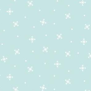 snowy flakes light teal :: cheeky christmas