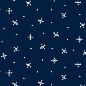 snowy flakes navy blue :: cheeky christmas