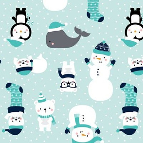 snow cuties light teal :: cheeky christmas