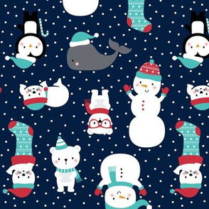 snow cuties navy blue :: cheeky christmas
