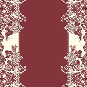 Willow-esque Tea Towel - Red