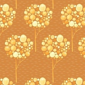 Watercolor Trees Gold Yellow Orange Brown  Fall Autumn Spots dots drops bubbles Abstract _ Miss Chiff Designs