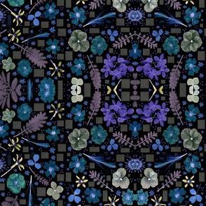 boho mirror botanicals blues