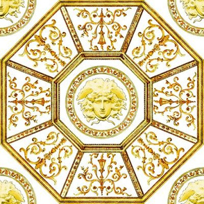 octagon baroque rococo medusa swirls scrolls filigree greek greece victorian Mythology monsters gorgons golden versace inspired