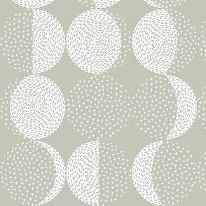 Moon Phases Embroidery Sand Gray