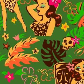 Tiki Temptress on Green - LARGE