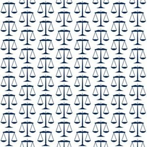 Small Navy Blue Scales of Justice on White