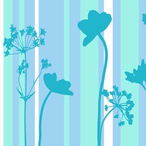 garden silhouettes turquoise