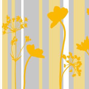 garden silhouettes yellow n grey