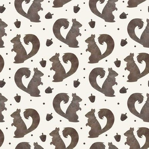 Squirrels and Acorns Woodland Watercolor Kids Nursery Pattern