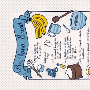 Ba-Nana Bread Recipe Tea Towel // family banana bread recipe hand lettering gingham kitchen utensil tea towel fat quarter fabric