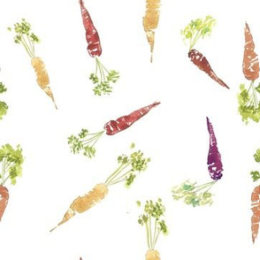 Watercolor Carrots, Spring Fabric, Easter Carrots