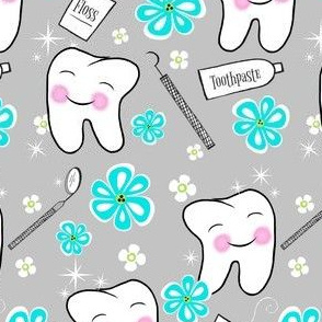 Make Me Sparkle and Shine Blushing Tooth/ grey-blue /kawaii