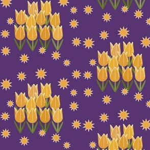 Tulips & Stars - Purple