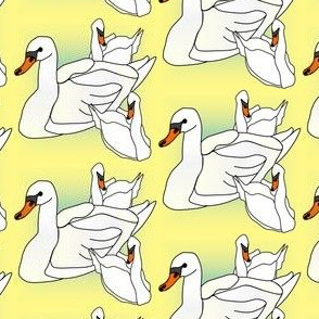 Baby Boy and Baby Girl Swans Fabric
