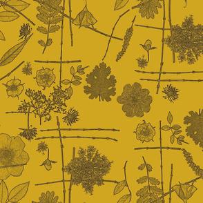 Botanical Block Print on Mustard