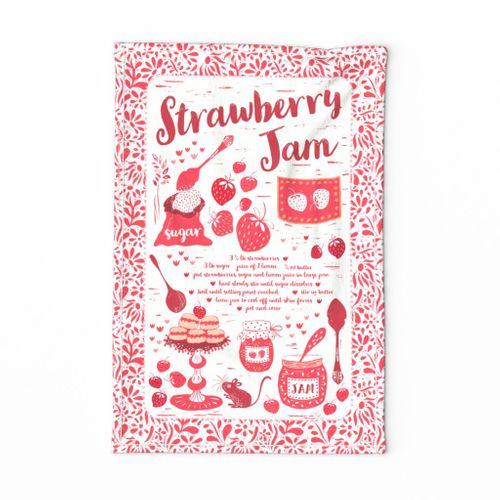 Strawberry Jam Recipe Tea Towel