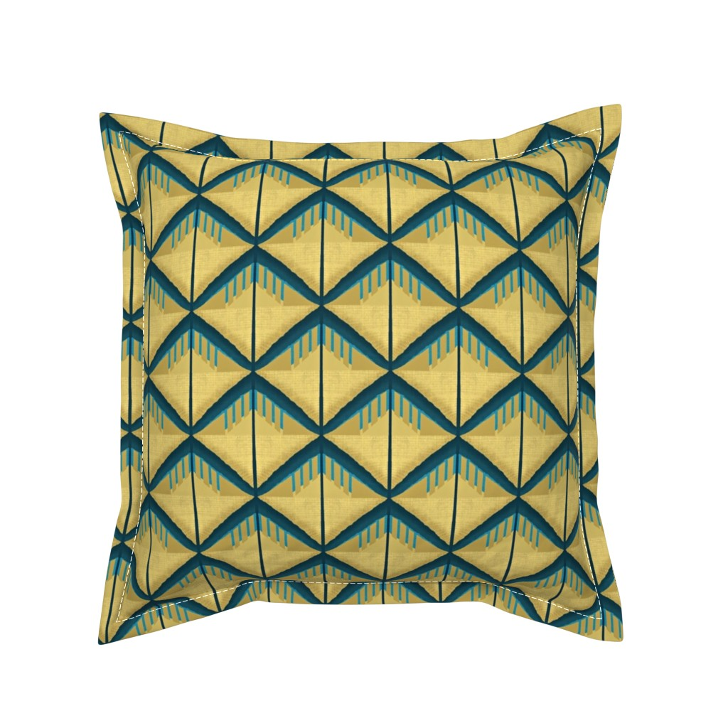 Serama Throw Pillow featuring New paths start where old paths end/blue yellow -diamond mudd slide by franbail