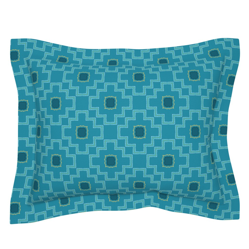 Sebright Pillow Sham featuring New paths start where old paths end/blue yellow Step diamond by franbail