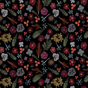 Dark Floral Aubergine