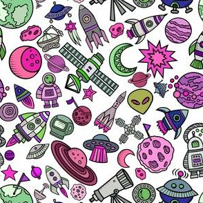 """Simple Space Objects Bright Colors 6"""""""