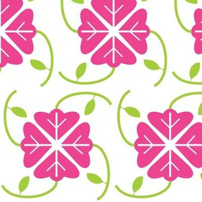 Botanical Graphic in Raspberry Pink and Lime Green, Floral Print with Plant Leaves