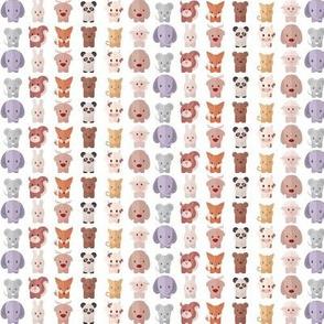 Cartoon Animals - 7.5 in (white)
