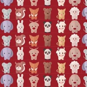 Cartoon Animals - 15 in (red)