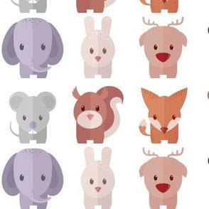 Cartoon Animals - 30 in (white)