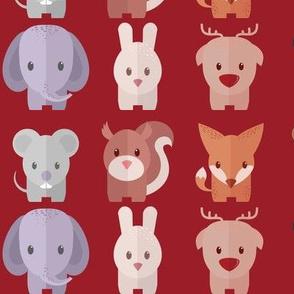Cartoon Animals - 30 in (red)