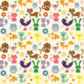 Cute Animals and Daisies - 4in (bright)