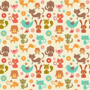 Cute Animals and Daisies - 4in (teal)