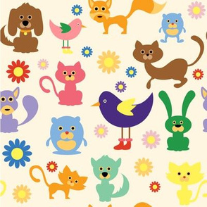 Cute Animals and Daisies - 8in (bright)