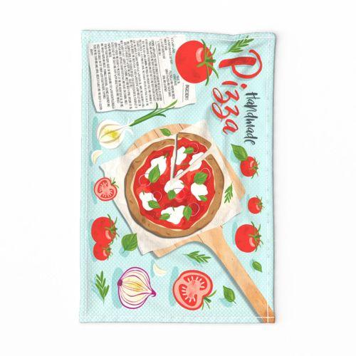Handmade Pizza Recipe Tea Towel