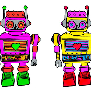 Plush robots pink-yellow