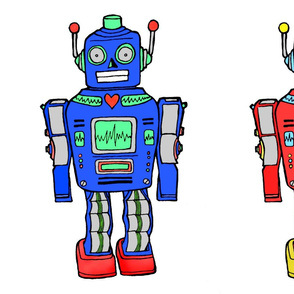 large PLUSHIE robots blue-red