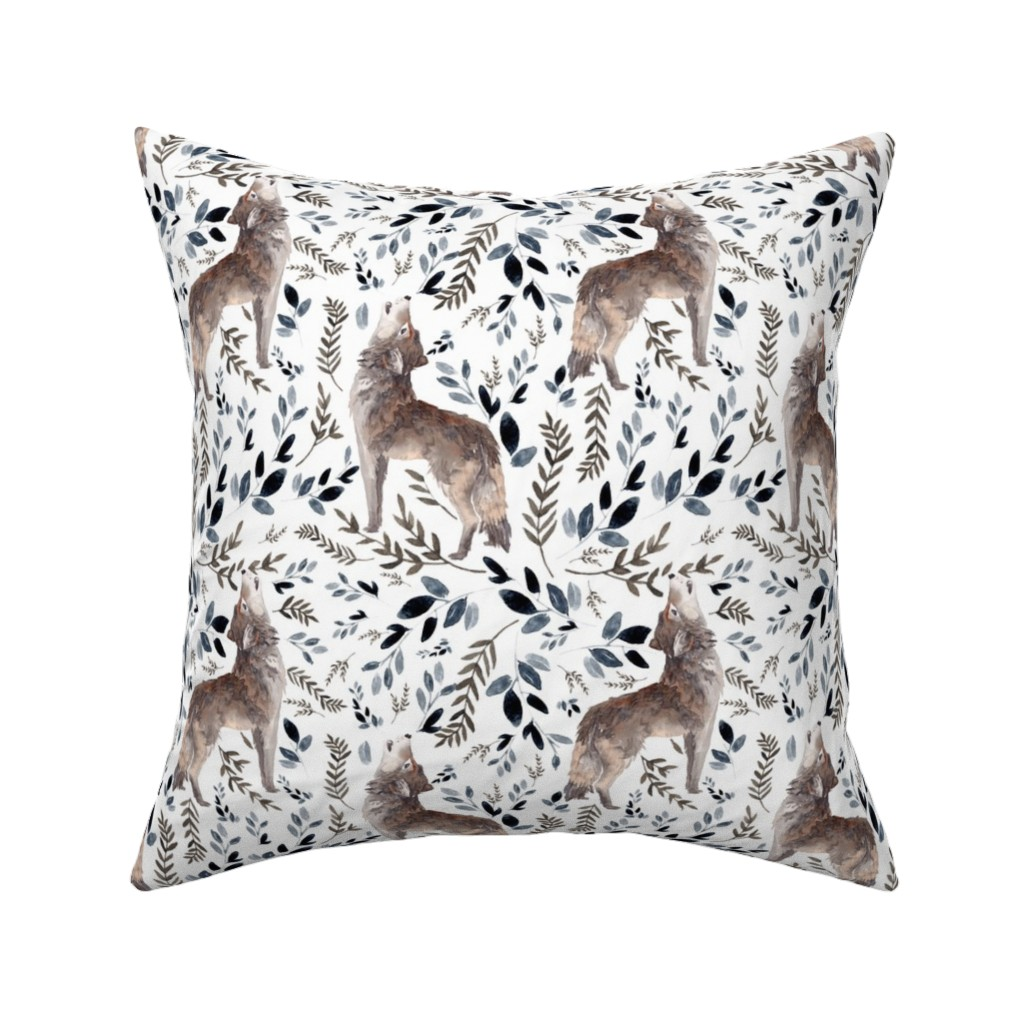 """Catalan Throw Pillow featuring 8"""" October in the Wild / Wolf / Foliage / White by shopcabin"""
