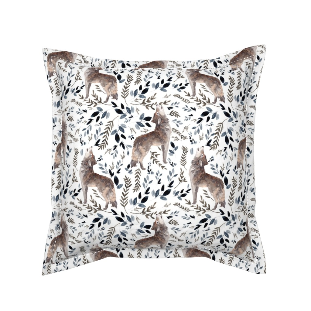 """Serama Throw Pillow featuring 8"""" October in the Wild / Wolf / Foliage / White by shopcabin"""