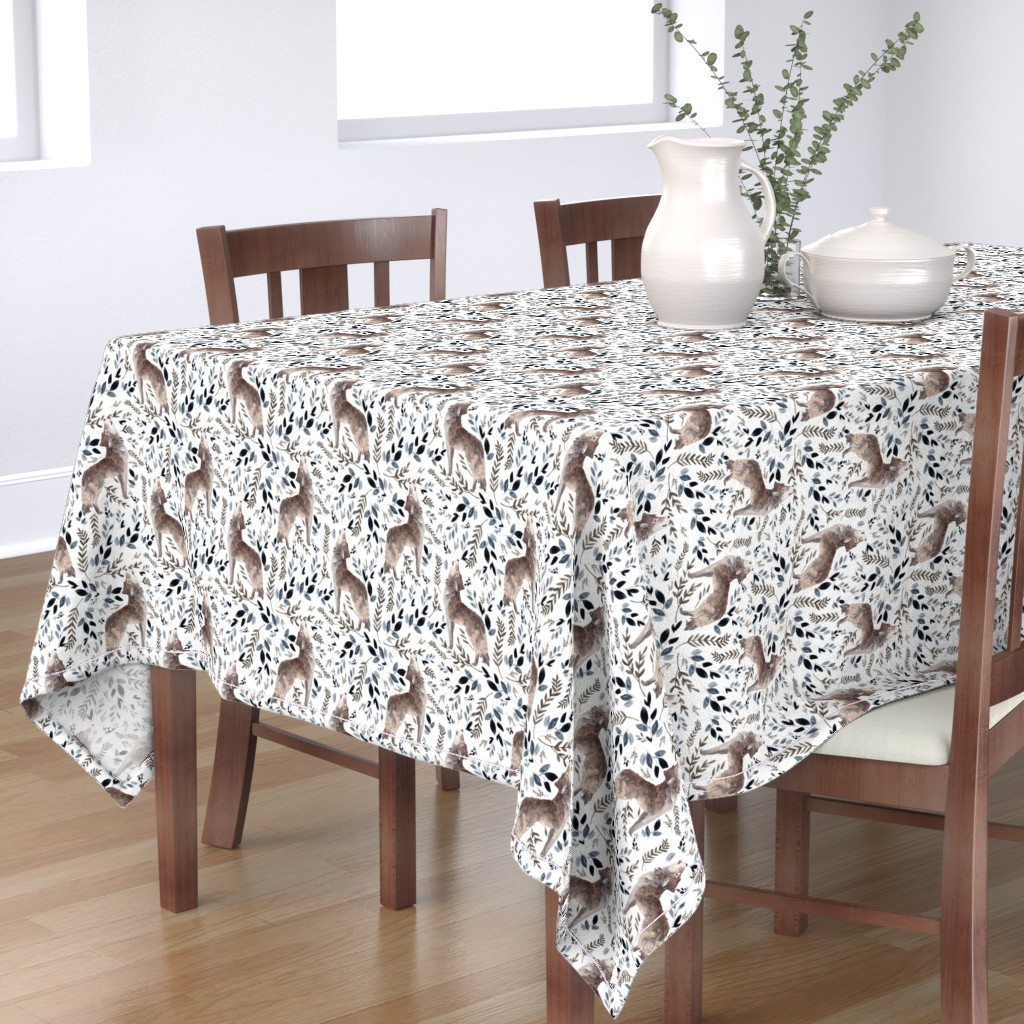 "Bantam Rectangular Tablecloth featuring 8"" October in the Wild / Wolf / Foliage / White by shopcabin"
