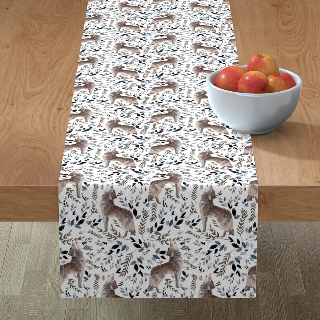 "Minorca Table Runner featuring 8"" October in the Wild / Wolf / Foliage / White by shopcabin"