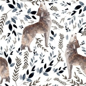 """8"""" October in the Wild / Wolf / Foliage / White"""