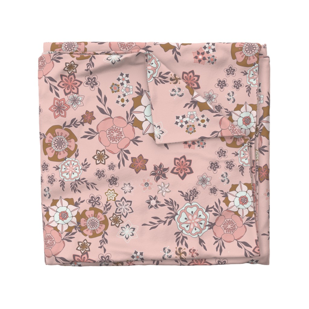Wyandotte Duvet Cover featuring Magical Meadow on Pink by paula_ohreen_designs