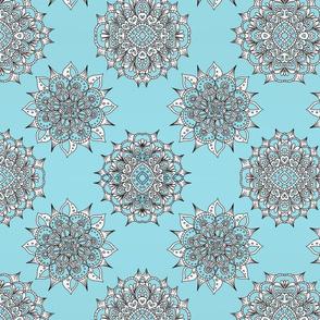 Light Blue Snowflake Mandalas