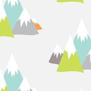 Mountain Adventures in Lime + Orange + Aqua + Greys