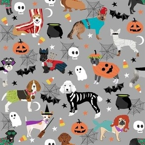dogs in halloween costumes - dog breeds dressed up fabric - grey